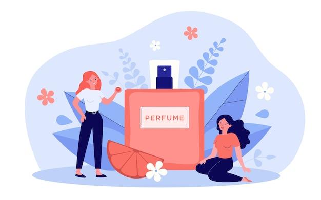 Frauen, die parfüm riechende illustration genießen Premium Vektoren