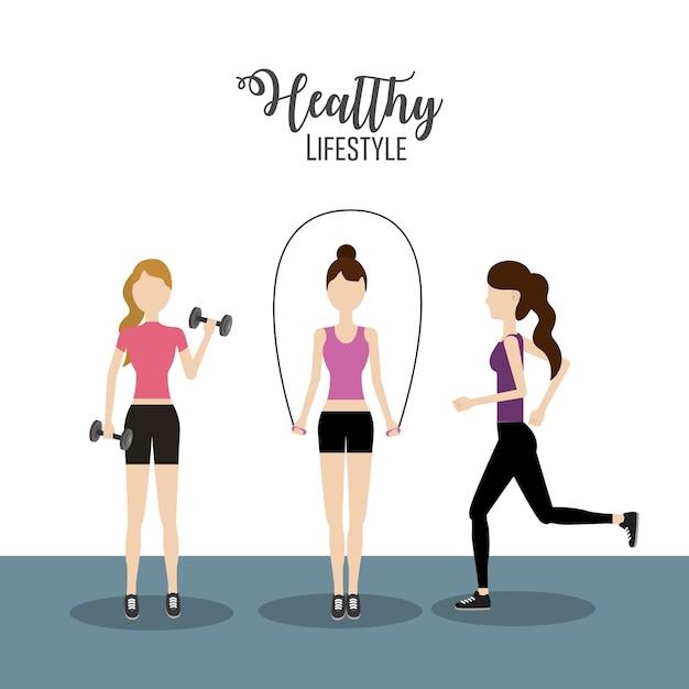 Frauen, die übung zu einem gesunden lebensstil machen Premium Vektoren
