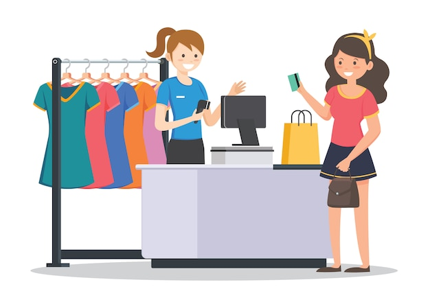 Frauen einkaufen Premium Vektoren
