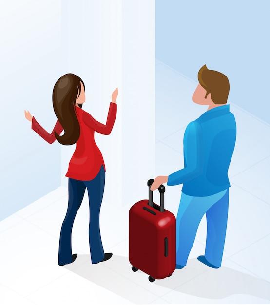 Frauen-empfangsdame-willkommener tourist mit koffer Premium Vektoren