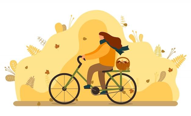 Frauen-fahrrad mit korb von pilzen, herbst Premium Vektoren