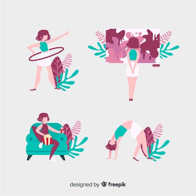 Frauen genießen ihre freizeit zu hause mit monstera-blättern Kostenlosen Vektoren