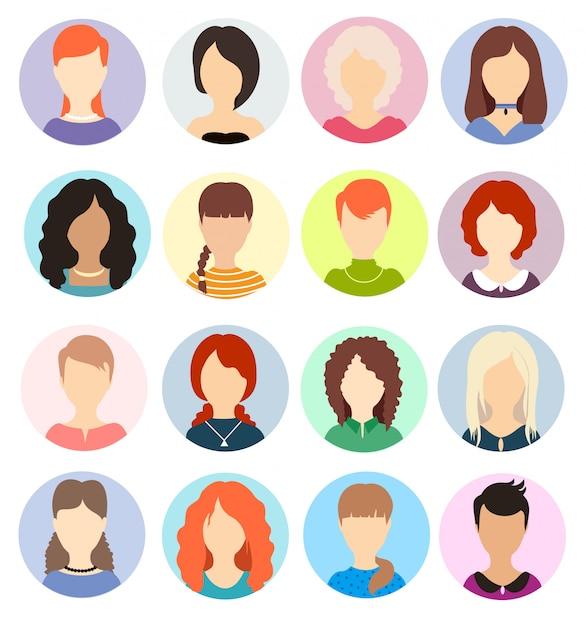 Frauen gesichtslose avatare. menschliche anonyme porträts, runde profil-avatar-symbole für frauen, kopfbilder von website-benutzern. verschiedene frisuren. Premium Vektoren