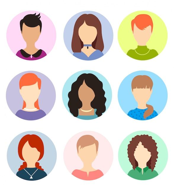 Frauen gesichtslose avatare. weibliche anonyme menschliche porträts, avatar-symbole für frauen mit rundem profil, kopfbilder der website-benutzer. Premium Vektoren