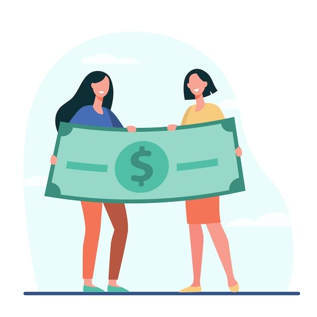 Frauen gewinnen geldpreis. glückliche mädchen, die flache illustration der riesigen dollarbanknote halten Kostenlosen Vektoren