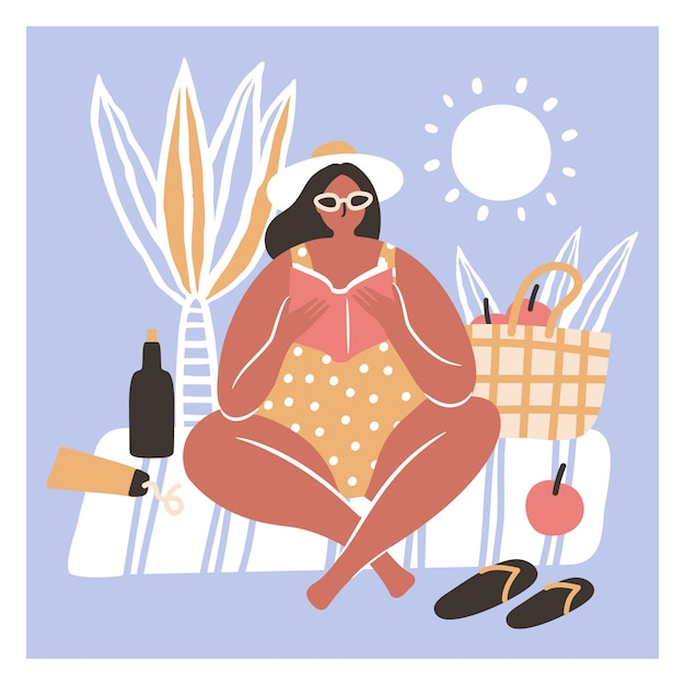Frauen im bikinilesebuch auf dem strand Premium Vektoren