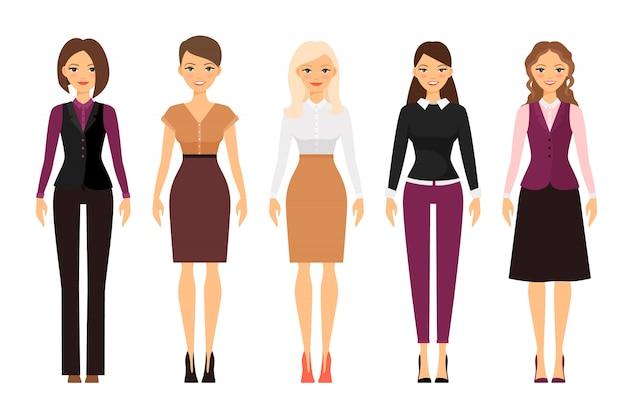 Frauen im büro-dresscode in violetten und beige farben Premium Vektoren