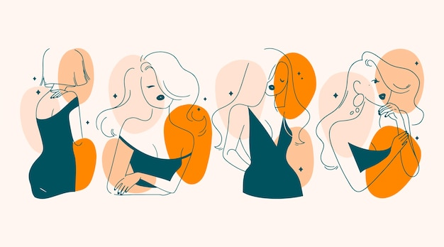 Frauen im eleganten strichkunststil illustriert Premium Vektoren