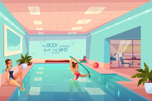 Frauen im entspannenden swimmingpool, aquaaerobic-training. Kostenlosen Vektoren