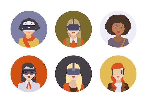 Frauen in den kopfhörern der virtuellen realität Premium Vektoren
