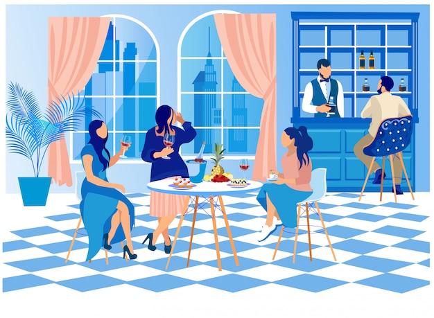 Frauen in der eleganten kleidung, die bei tisch in der stange sitzt Premium Vektoren