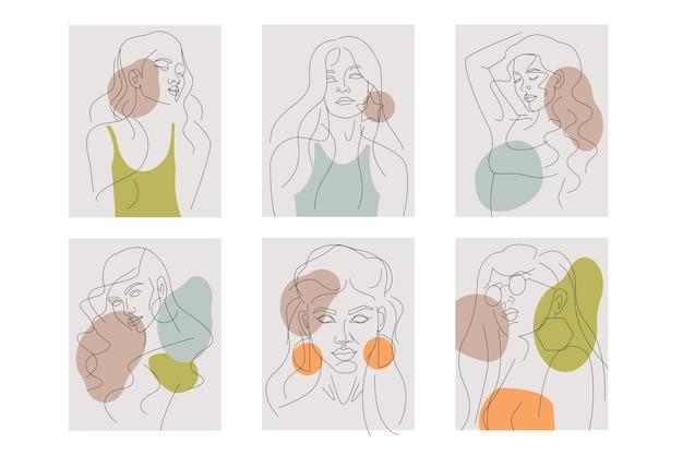 Frauen in der eleganten strichkunst-art-sammlung Kostenlosen Vektoren