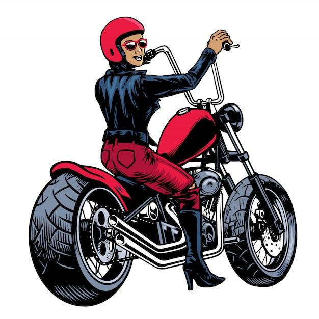 Frauen in der lederjacke, die zerhackermotorrad reitet Premium Vektoren