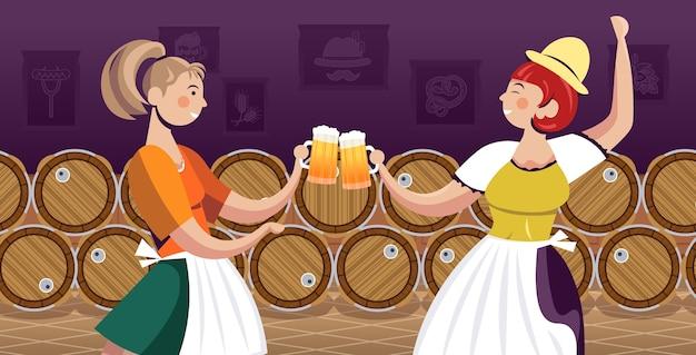 Frauen in traditioneller kleidung, die bier trinken, feiern oktoberfest-partyfreunde, die spaßporträt horizontale vektorillustration haben Premium Vektoren
