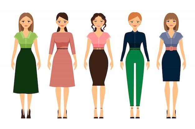 Frauen-kleiderordnung romantische stilikonen Premium Vektoren