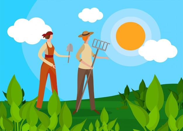 Frauen landwirte charaktere mit landwirtschaftlichen werkzeugen. Premium Vektoren
