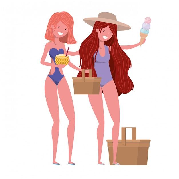 Frauen mit badeanzug und ananascocktail Kostenlosen Vektoren