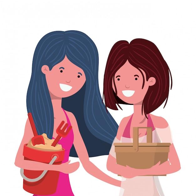 Frauen mit badeanzug und sandeimer Kostenlosen Vektoren