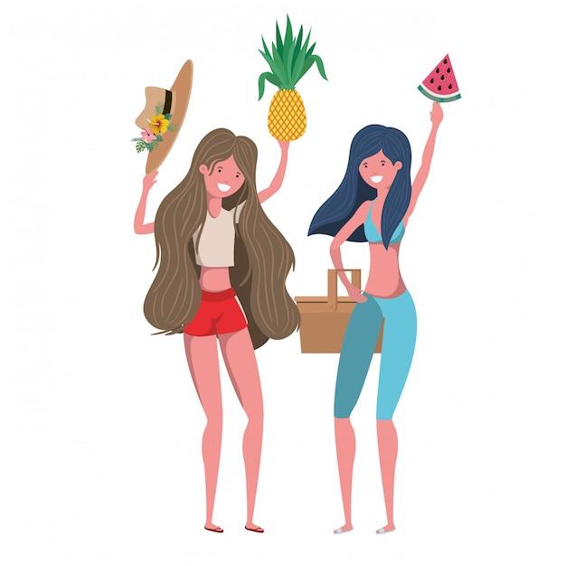 Frauen mit badeanzug und tropischen früchten in der hand Kostenlosen Vektoren