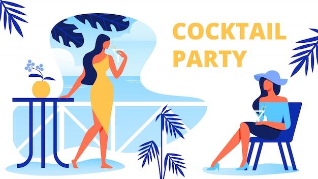 Frauen mit cocktails auf der terrasse. cocktailparty. Premium Vektoren