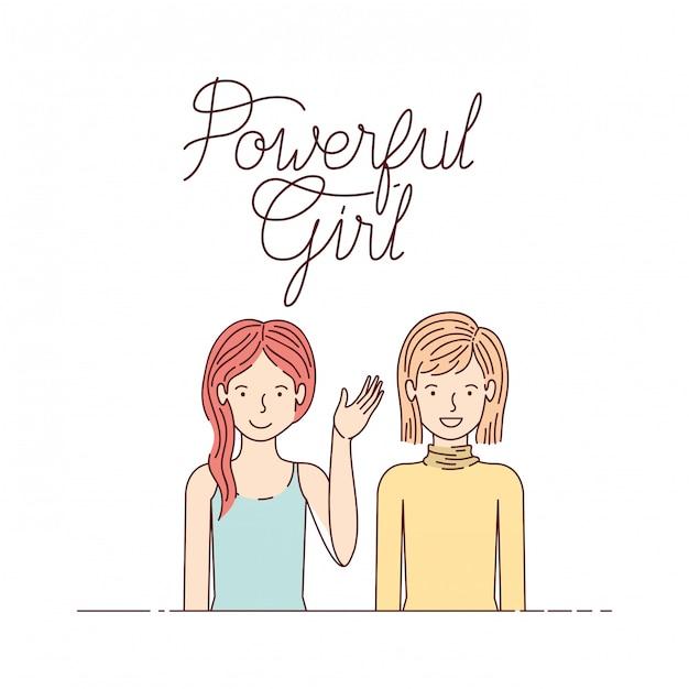 Frauen mit dem label girl avatar charakter Premium Vektoren