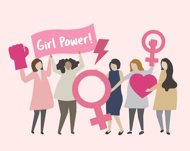 Frauen mit feminismus und mädchen macht illustration Kostenlosen Vektoren
