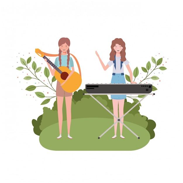 Frauen mit musikinstrumenten und landschaft Premium Vektoren