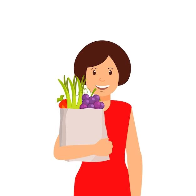 Frauen mit tasche von obst und gemüse clipart Premium Vektoren
