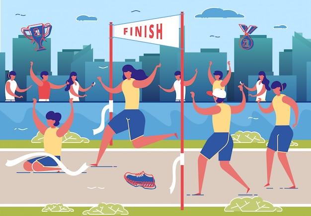 Frauen nehmen am marathonlauf teil. Premium Vektoren