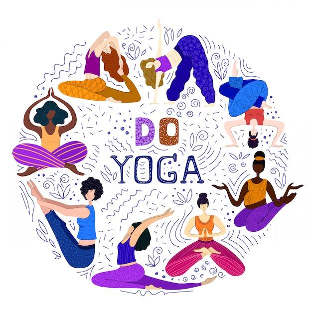 Frauen oder mädchen praktizieren yoga Premium Vektoren