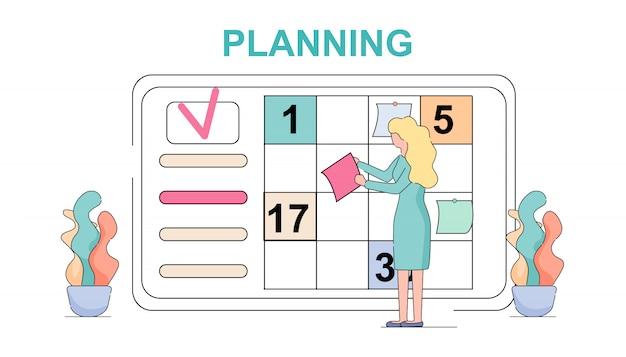 Frauen-planungs-wöchentliches sitzungs-zeitplan-aufgaben-brett. Premium Vektoren