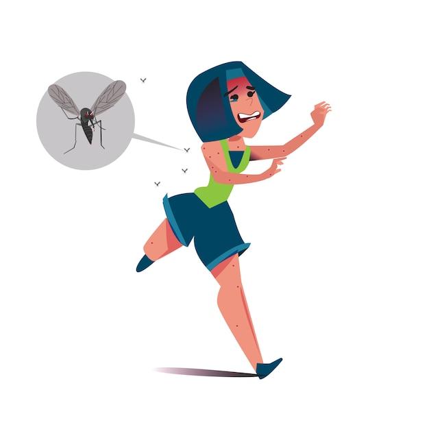Frauen rennen vor mücken davon Premium Vektoren
