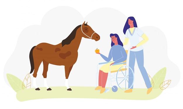 Frauen-rollstuhl-feed horse medical nurse assist Premium Vektoren
