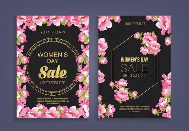 Frauen, s tagesverkauf mit musterblumenhintergrund Premium Vektoren