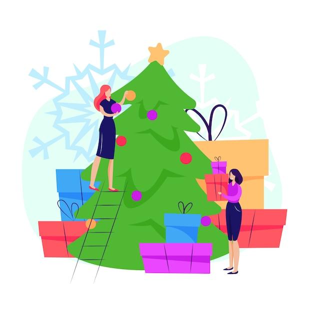 Frauen schmücken weihnachtsbaum Kostenlosen Vektoren