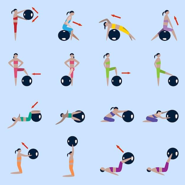 Präferenz Frauen Silhouetten mit Fitness-Ball Sport Übungen Symbole gesetzt  WC37
