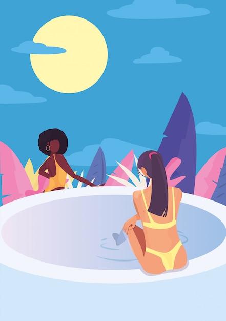 Frauen sommerferien Premium Vektoren