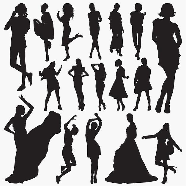 Frauen stilvolle kleidung silhouetten Premium Vektoren