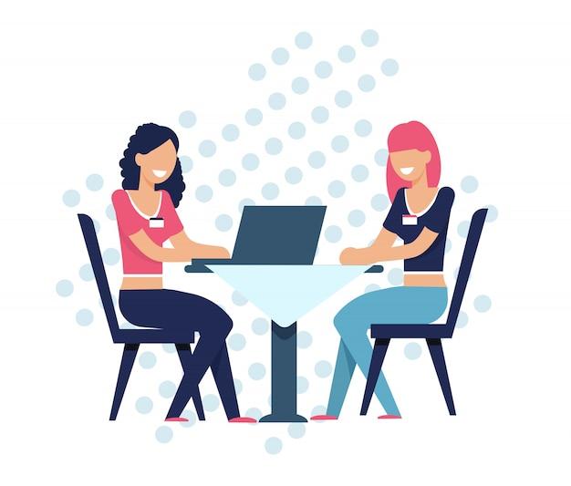Frauen-suchseelenverwandter online, bei tisch sitzend Premium Vektoren