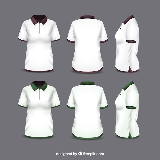Frauen t-shirt in verschiedenen ansichten mit realistischem stil Kostenlosen Vektoren