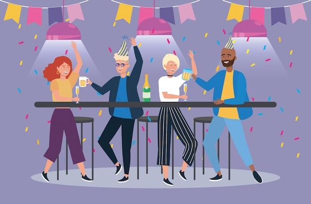 Frauen und männer, die bier auf party trinken Kostenlosen Vektoren