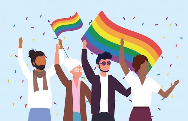 Frauen und männer gemeinschaft mit regenbogenfahnen zu parade Premium Vektoren
