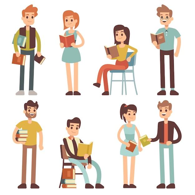 Frauen und männer lesen bücher. menschen leser zeichensatz. Premium Vektoren