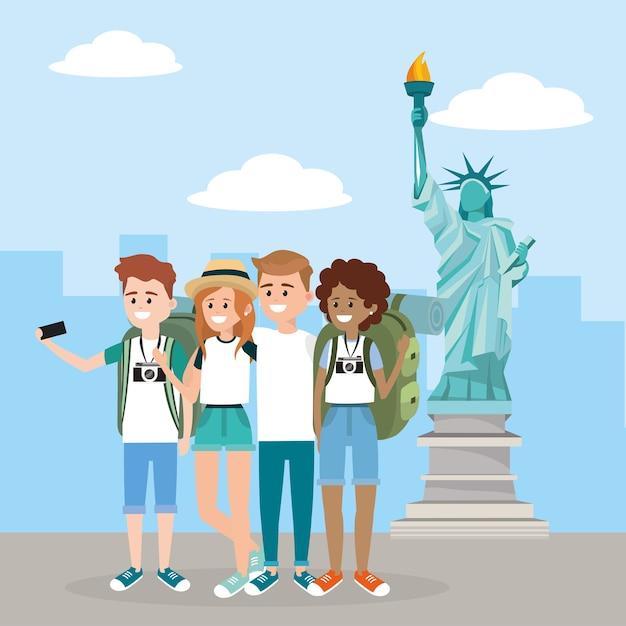 Frauen und männer mit smartphone in der freiheitsstatue Premium Vektoren