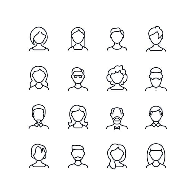 Frauen- und manngesichtslinie ikonen. weibliche männliche profilentwurfssymbole mit verschiedenen frisuren. vektorleuteavataras lokalisiert Premium Vektoren
