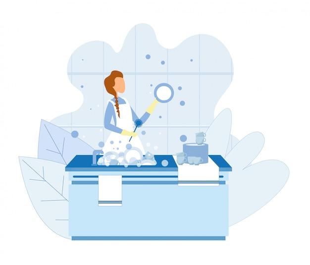 Frauen-waschende teller, nachdem illustration gekocht worden ist Premium Vektoren