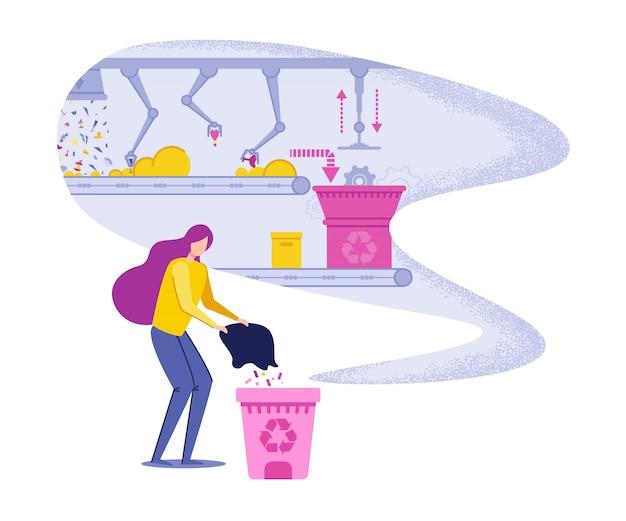 Frauen-werfender abfall und stützende wiederverwertung. Premium Vektoren