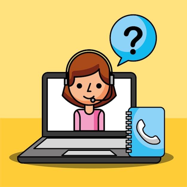Frauenagent in den laptopfragen markieren kundendienst Premium Vektoren