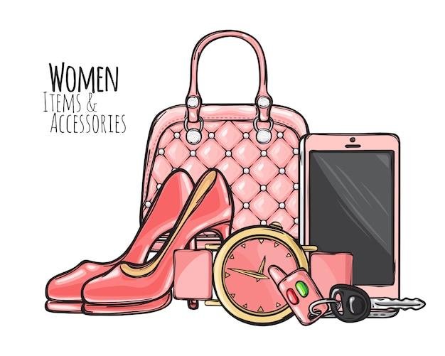 Frauenartikel und zubehör Premium Vektoren