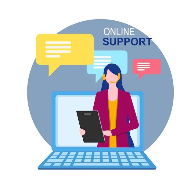 Frauenassistentin auf notebook-online-support Premium Vektoren